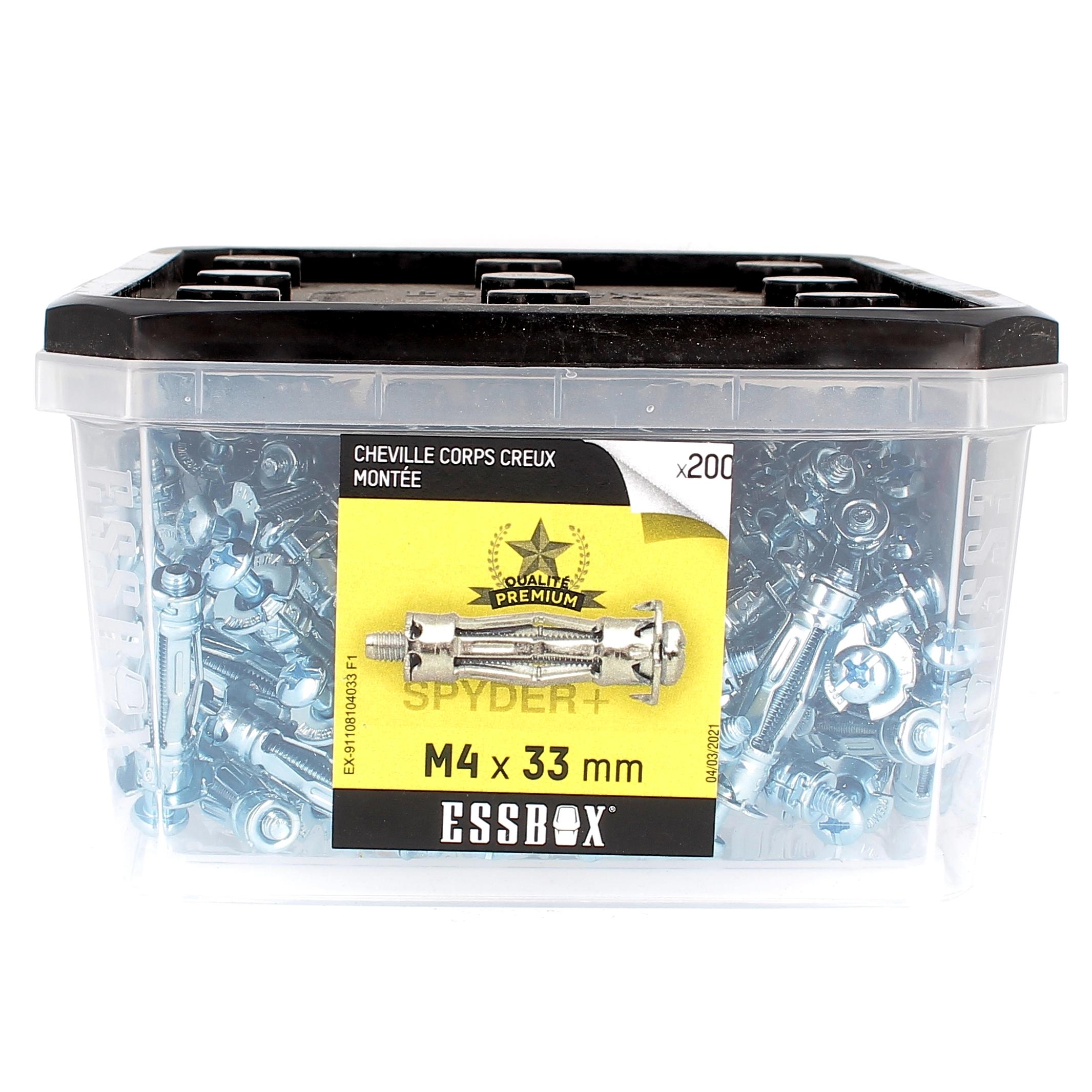 ESSBOX de 200 Chevilles Métalliques à Expansion Qualité Premium 4X33 avec Vis