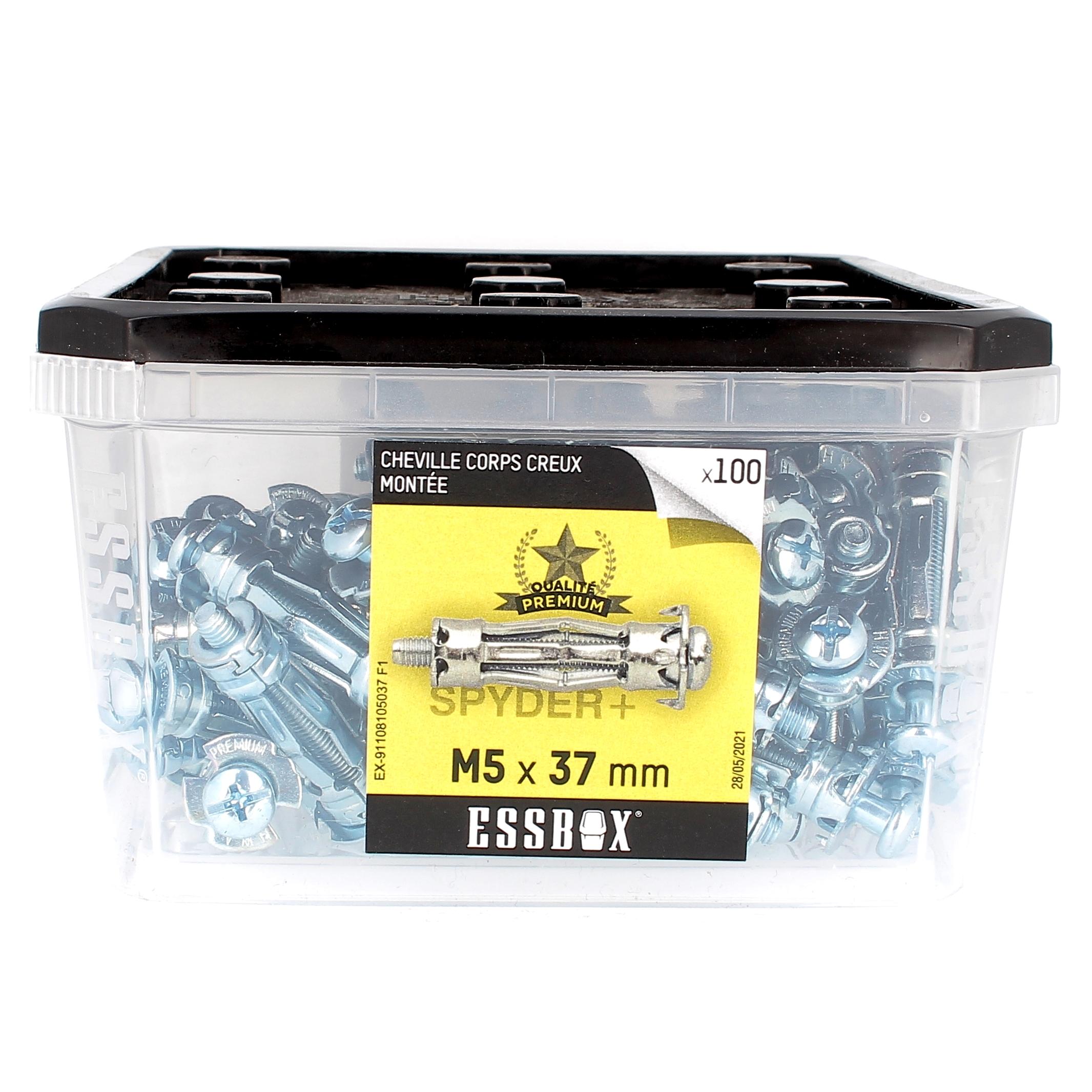 ESSBOX de 100 Chevilles Métalliques à Expansion Qualité Premium 5X37 avec Vis