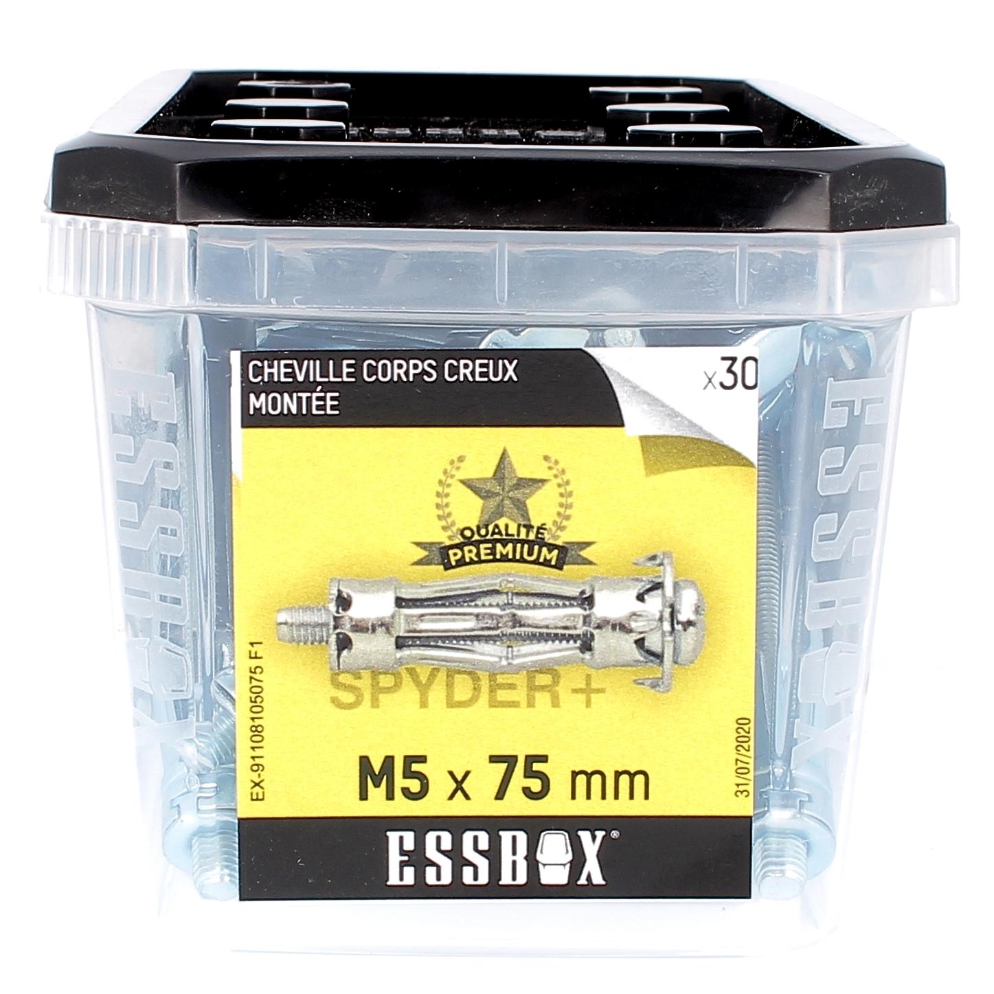 ESSBOX de 30 Chevilles Métalliques à Expansion Qualité Premium 5X75 avec Vis