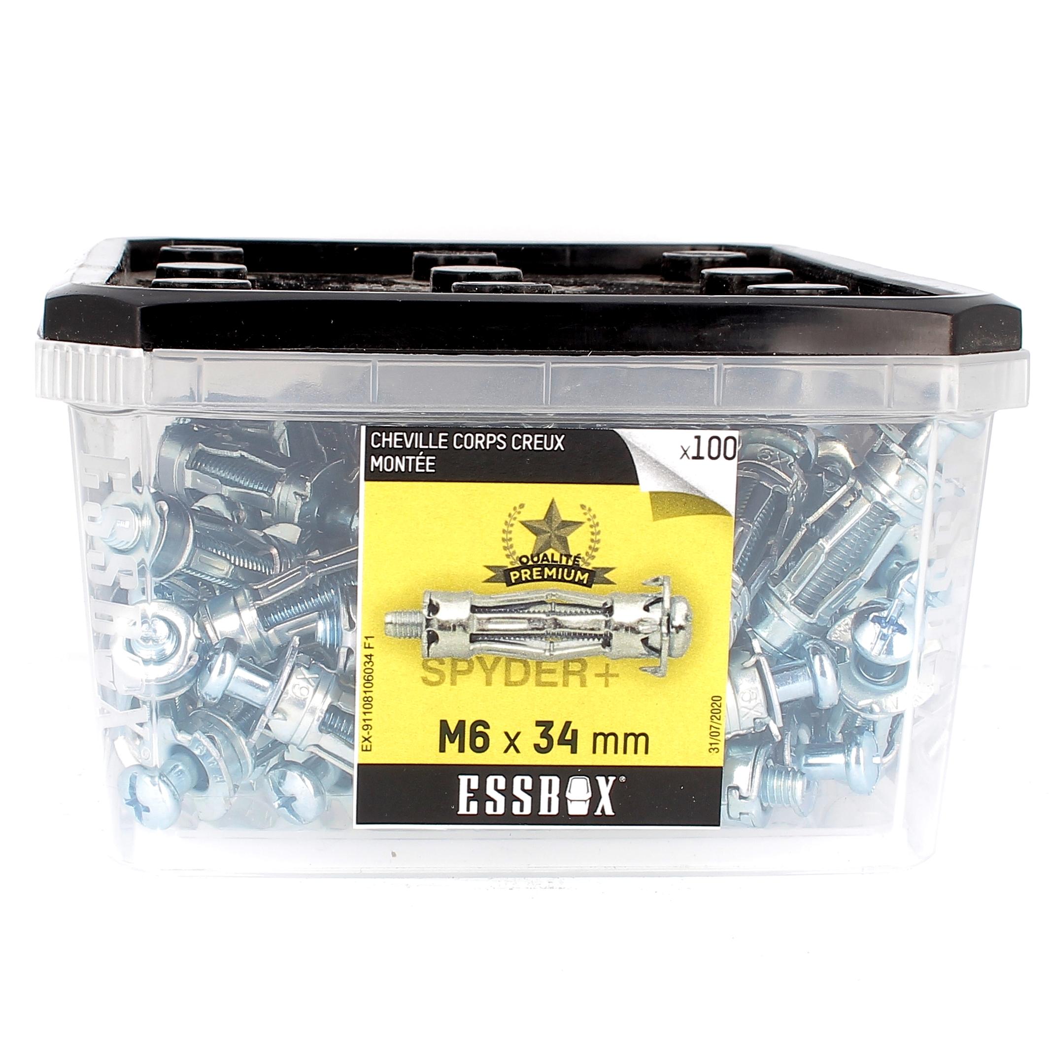 ESSBOX de 100 Chevilles Métalliques à Expansion Qualité Premium 6X34 avec Vis