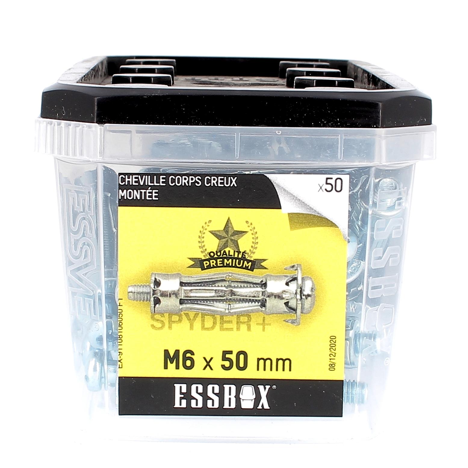 ESSBOX de 50 Chevilles Métalliques à Expansion Qualité Premium 6X50 avec Vis