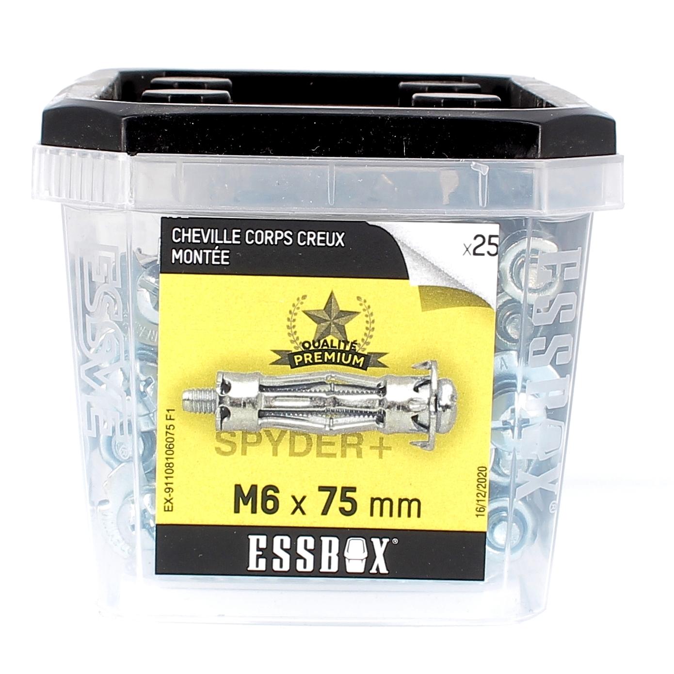 ESSBOX de 25 Chevilles Métalliques à Expansion Qualité Premium 6X75 avec Vis