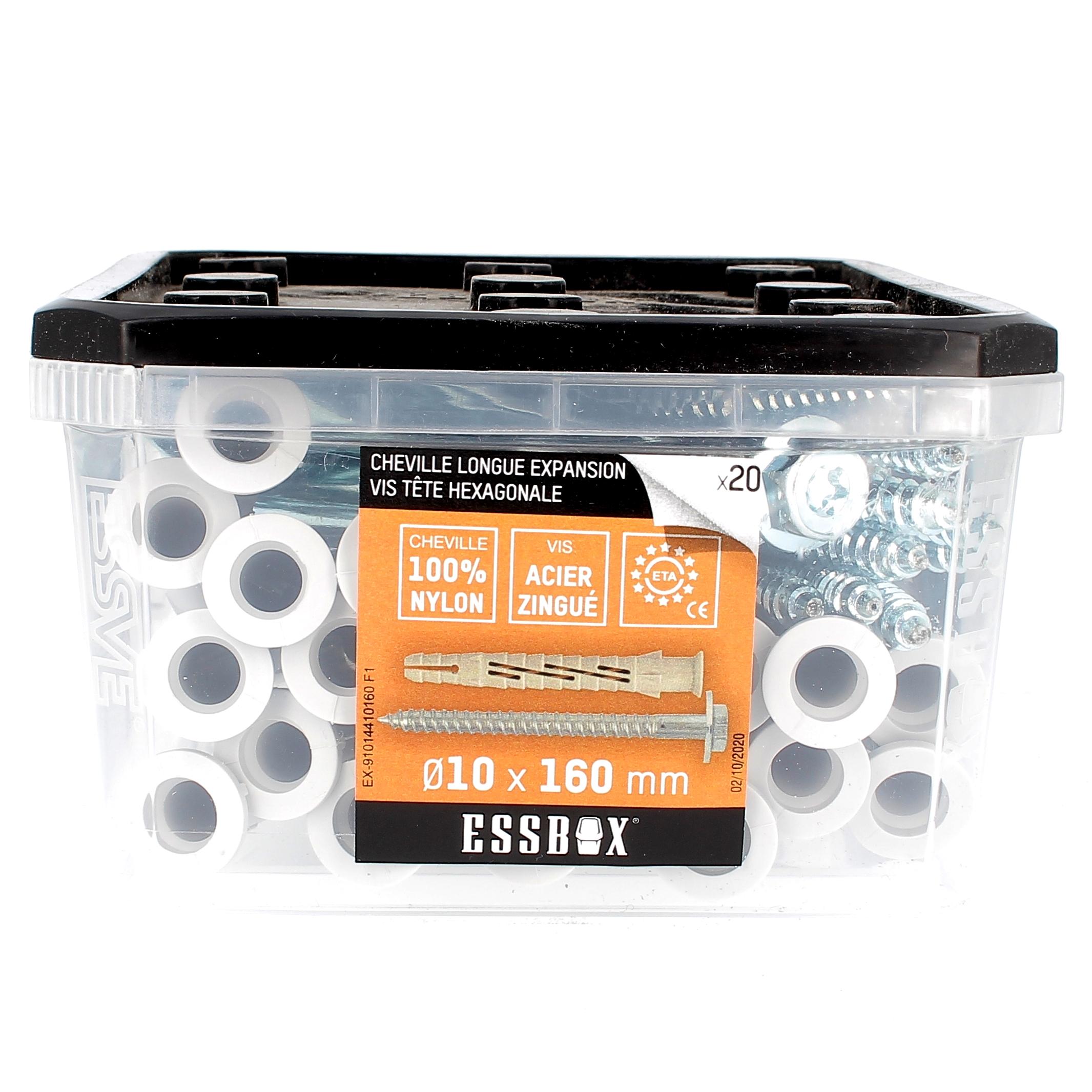 ESSBOX de 20 Chevilles Nylon Longue Expansion avec TH Embase Acier 10X160