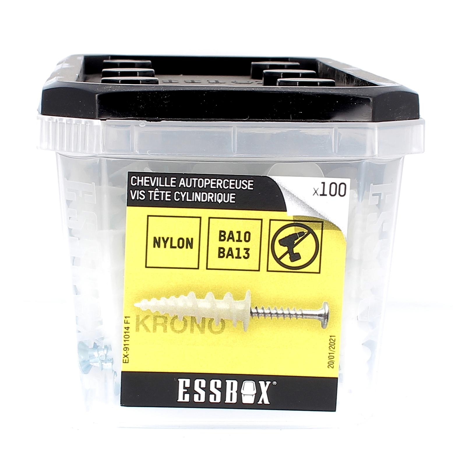 ESSBOX de 100 Chevilles Autoperceuses Nylon avec Vis TR 4.5X30