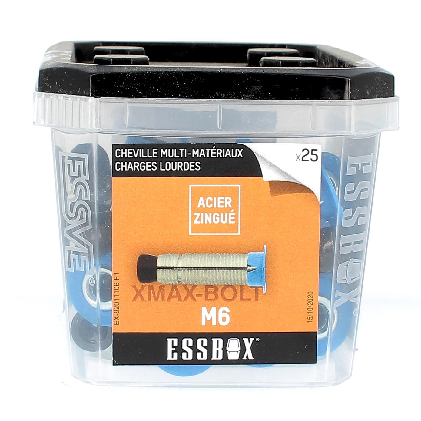 ESSBOX de 25 Chevilles à Expansion Multi-Matériaux M6 Acier