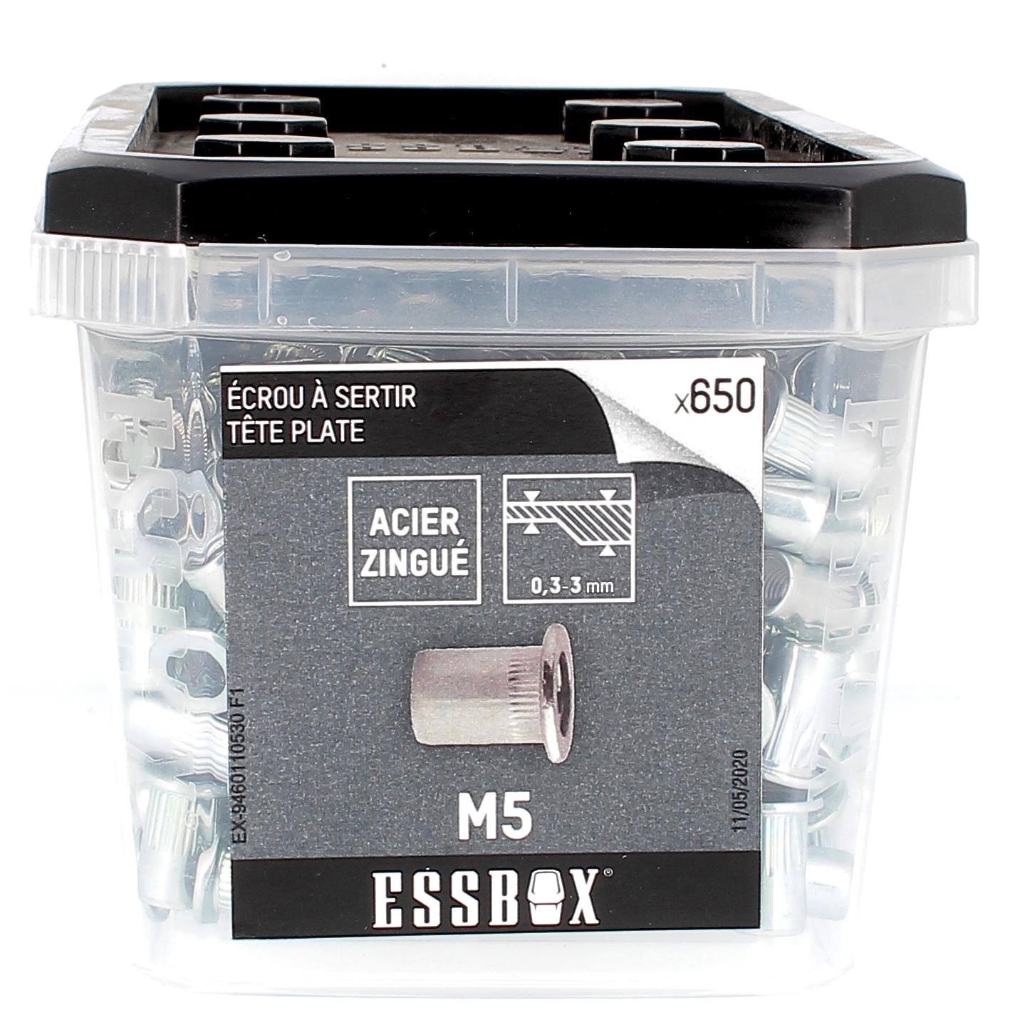 ESSBOX de 650 Ecrous Aveugles Crantés T.Plate M5 Acier