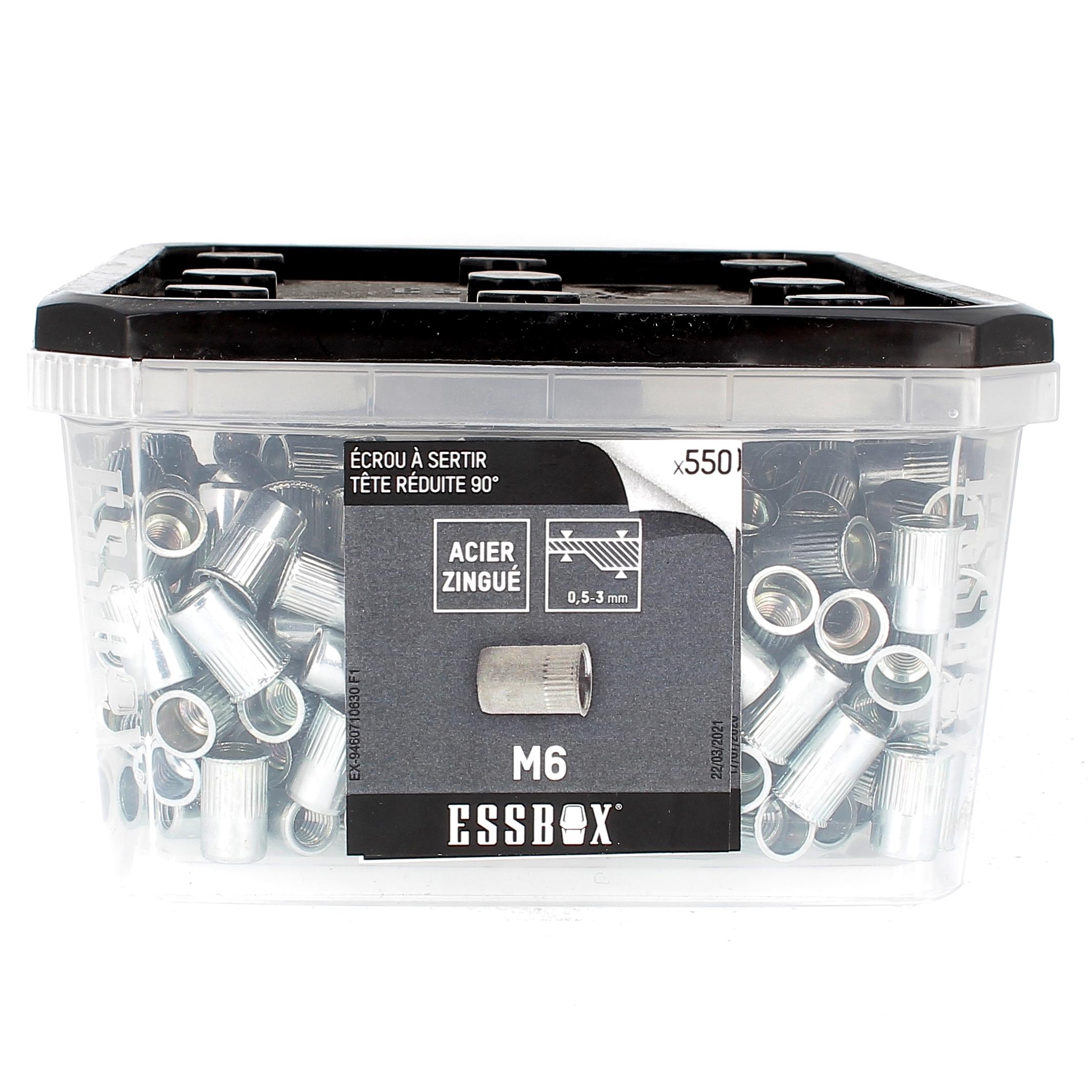 ESSBOX de 550 Ecrous Aveugles Crantés T.Reduite M6 Acier