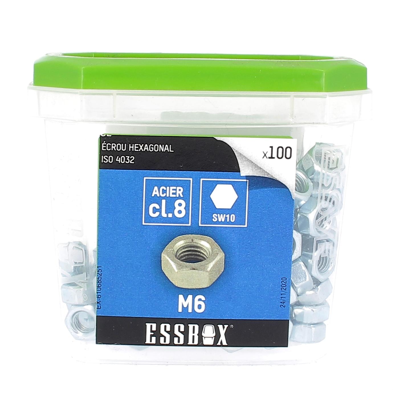 ESSBOX de 100 Ecrous Hu M6 Acier 8.8 Zingué ISO 4032