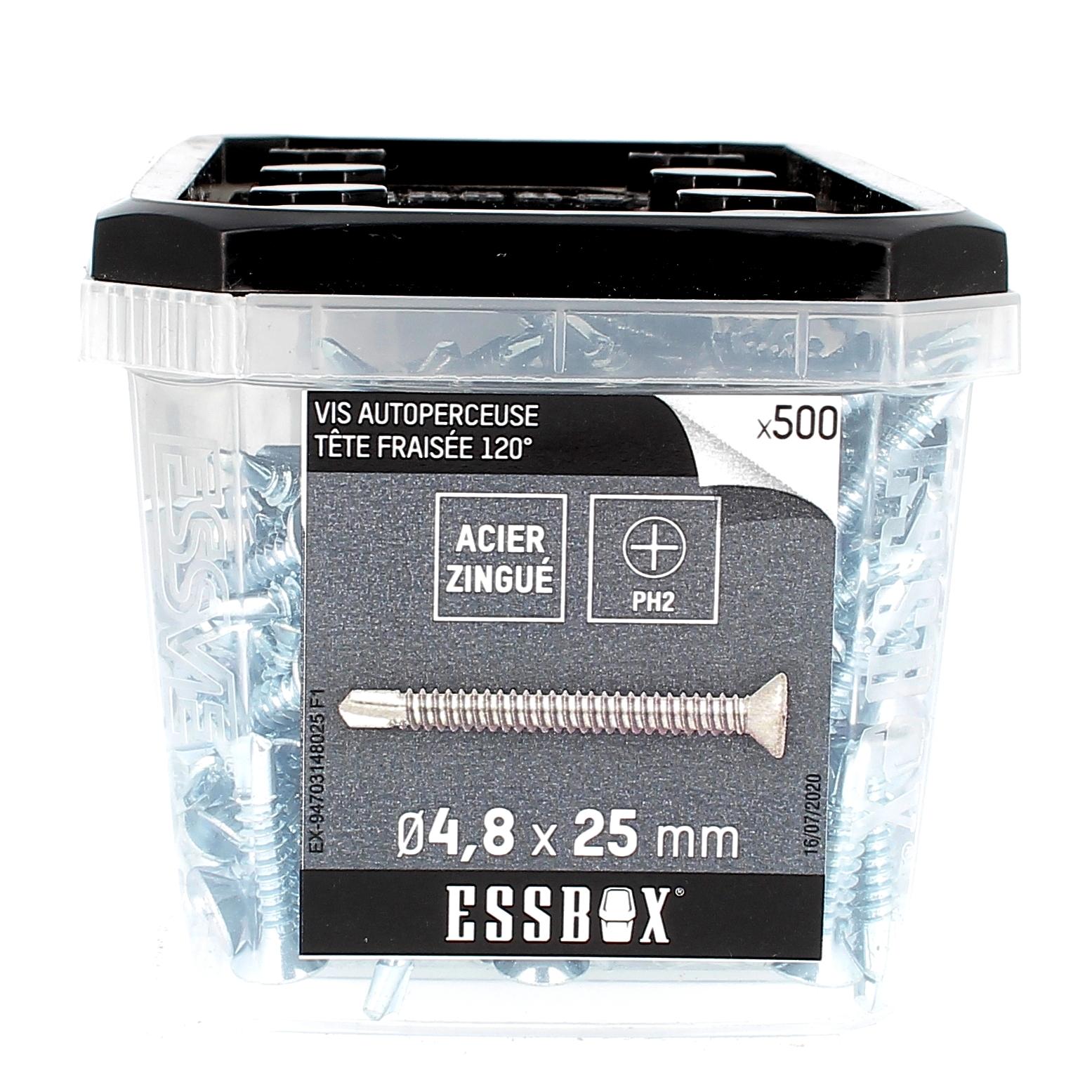 ESSBOX de 500 Autoperceuses TFC 4.8X25 Zingué
