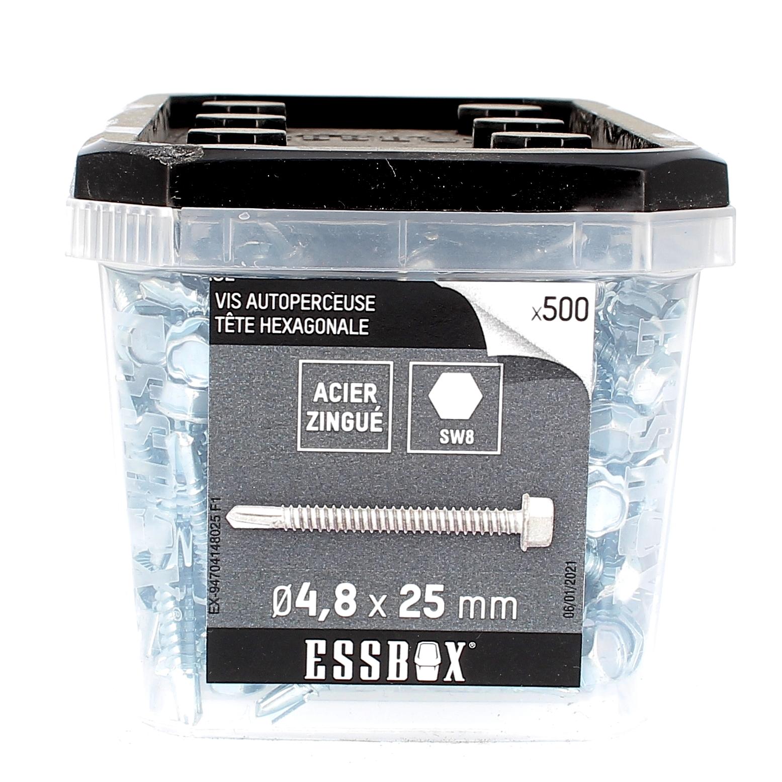 ESSBOX de 500 Autoperceuses TH 4.8X25 Zingué