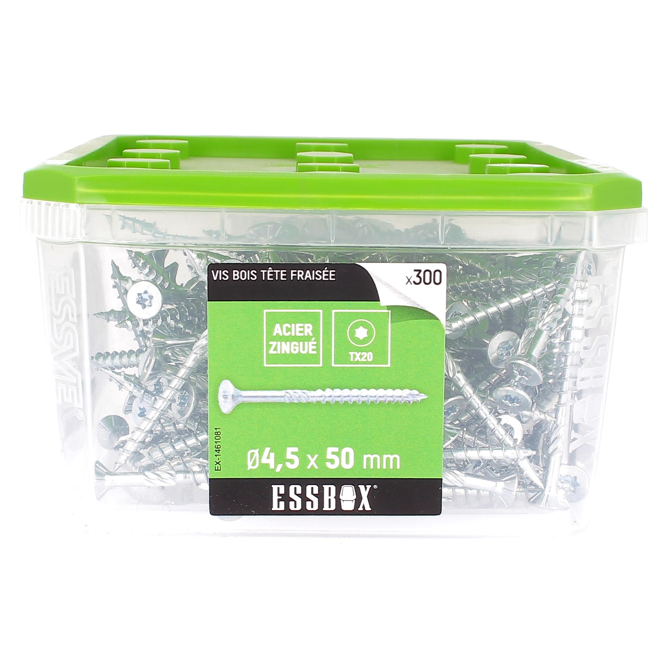 ESSBOX de 300 VBA TFX 4.5X50 Zingué (filetage partiel)