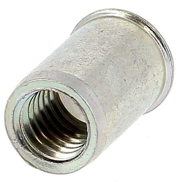 Ecrou Noyé RIVKLE en Acier Bichromaté à Fût Cylindrique Lisse Ouvert, cote de perçage poucique (Tête Fine)