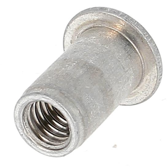 Ecrou Noyé RIVKLE en Aluminium à Fût Cylindrique Ouvert (Tête Plate)