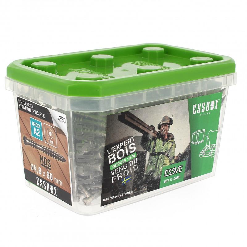 Boite 250 Vis Terrasse Invisible 4,8x60 Inox A2 Torx