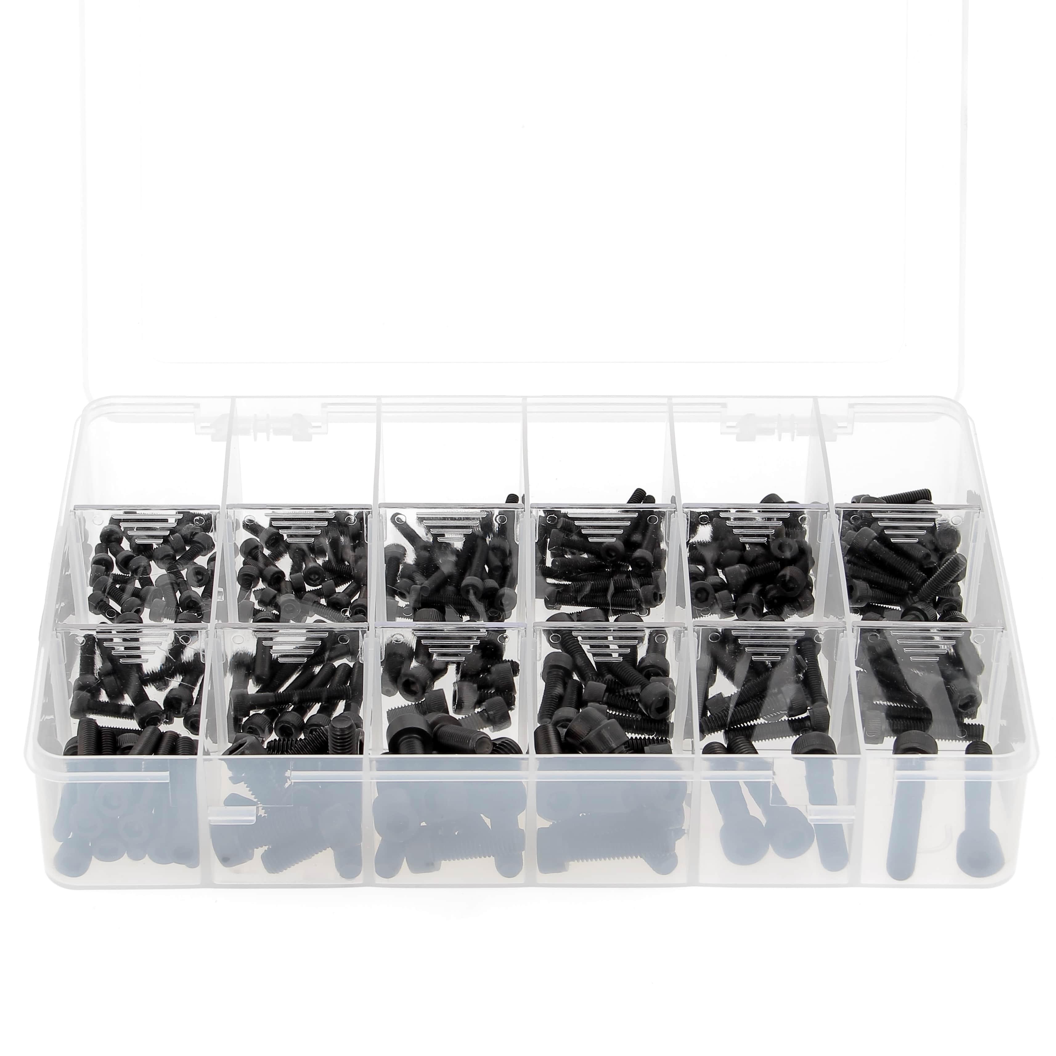 Coffret d'assortiments 255 Vis à Tête Cylindrique Hexagonale Creuse Acier 12.9 Noir DIN 912