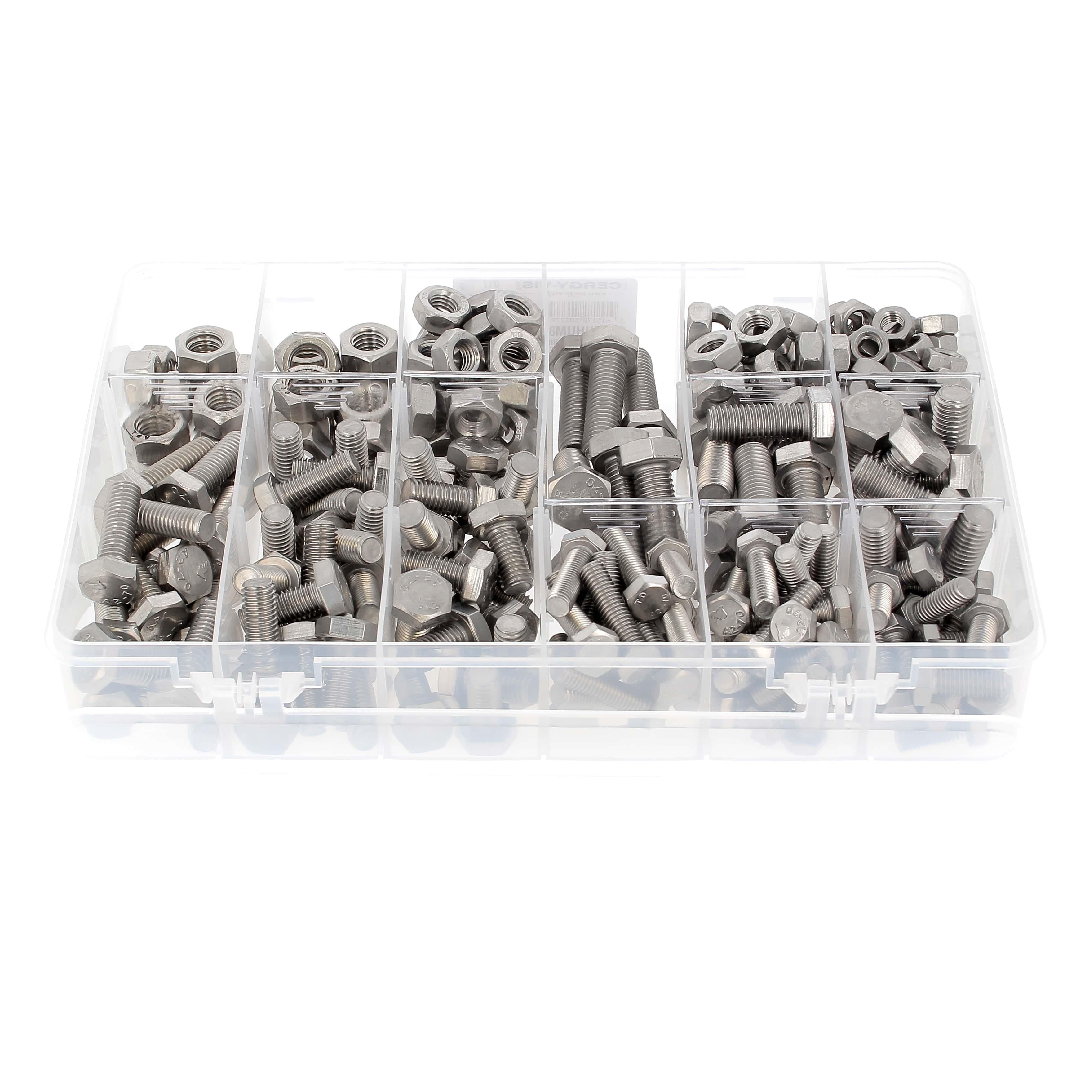 Coffret de 292 TH M8-M10-M12 DIN 933 + Ecrous Inox A2